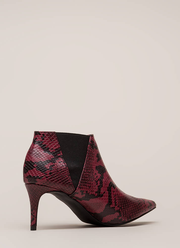 Short And Chic Pointy Faux Snake Booties WINE