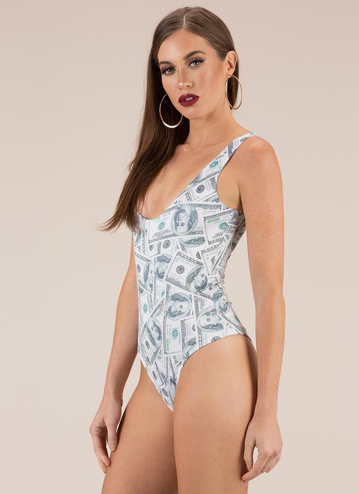 Top Dollar Money Print Bodysuit MULTI