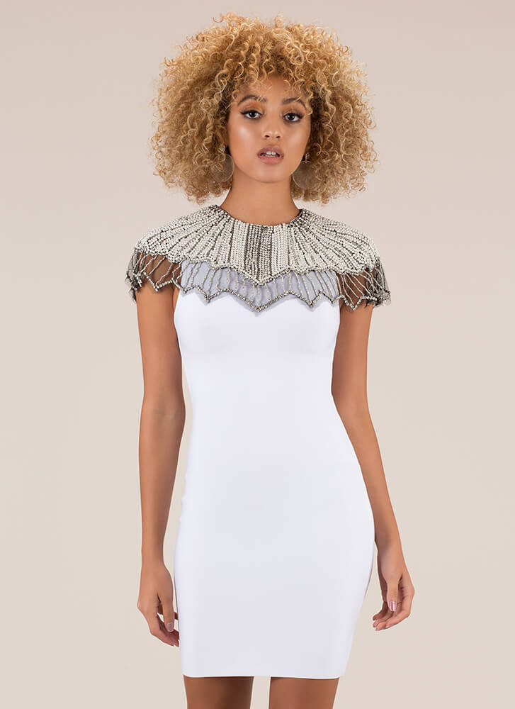 Pearly Greats Beaded Bandage Dress WHITE