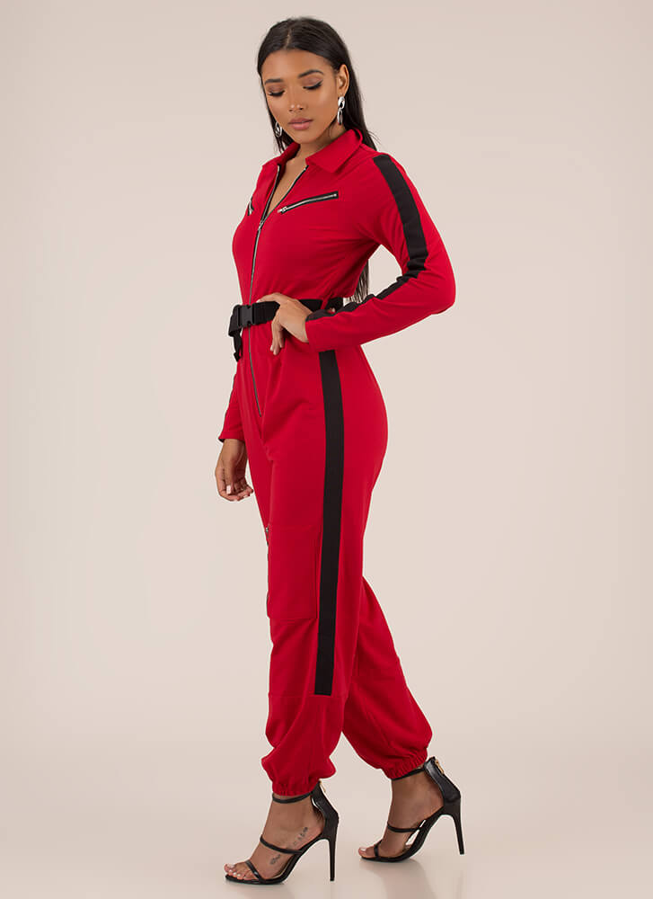 Zipped My Mind Belted Jogger Jumpsuit RED