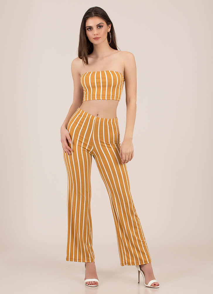 Perfect Pinstripes Top And Pant Set CAMEL