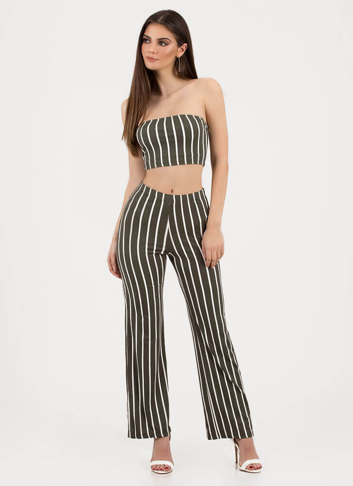 Perfect Pinstripes Top And Pant Set OLIVE