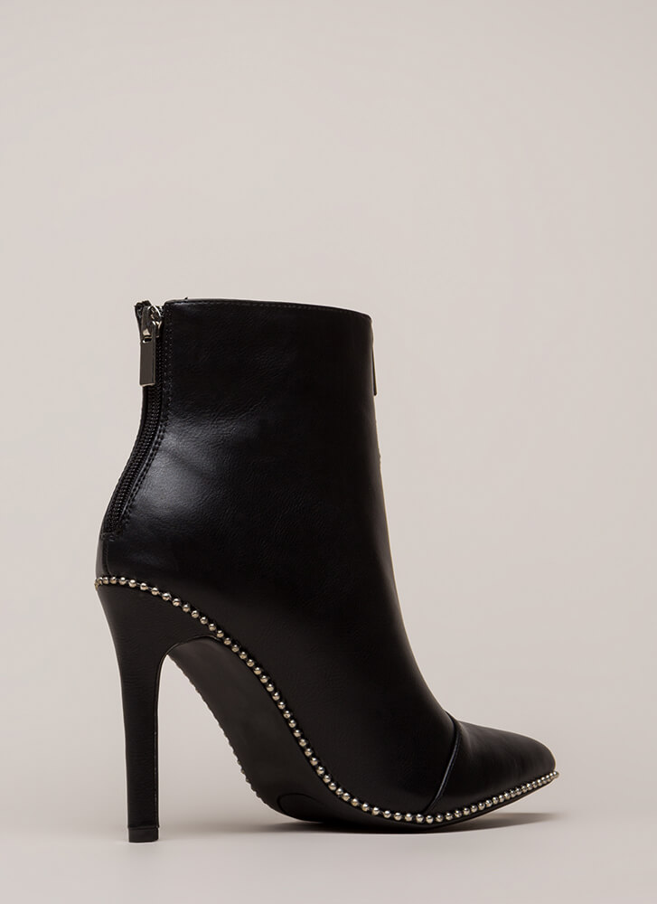 Stunned Studded Faux Leather Booties BLACK