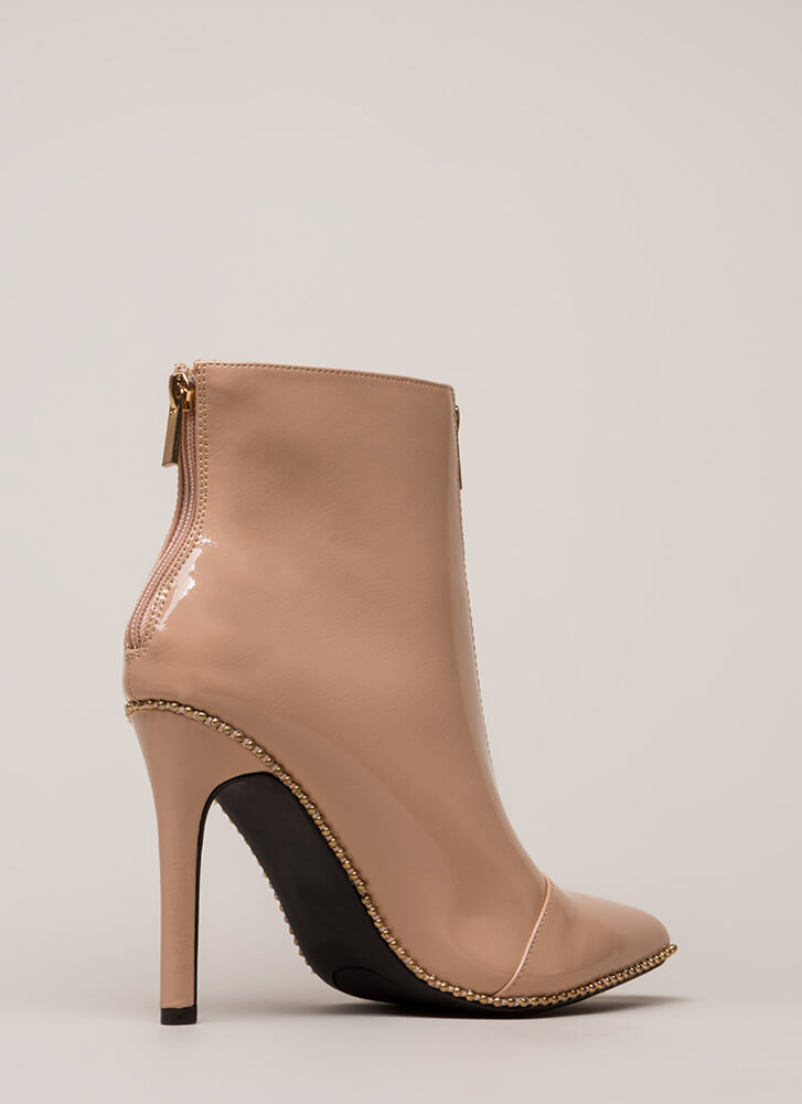 Stunned Studded Faux Patent Booties NUDE