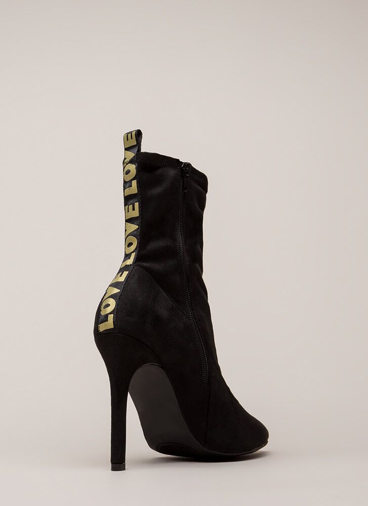 Love Love Love Pointy Faux Suede Booties BLACKGOLD