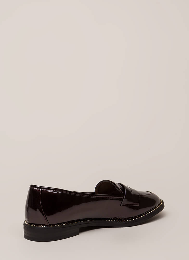 Potential Suitor Studded Loafer Flats BURGUNDY