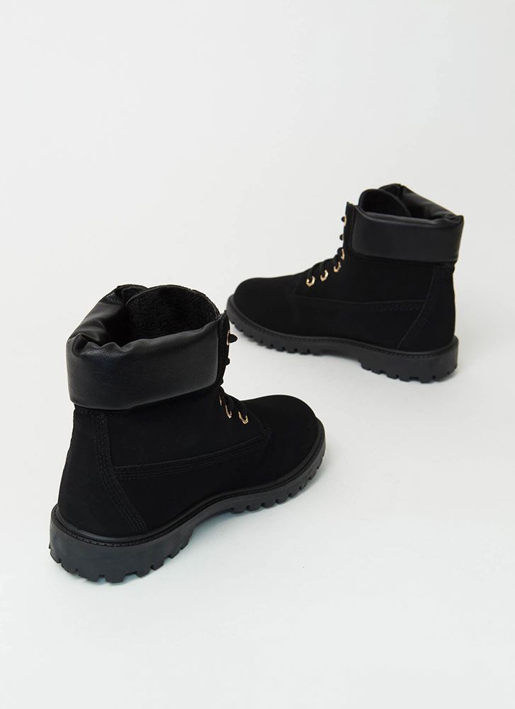 Work Ready Faux Nubuck Combat Boots BLACK