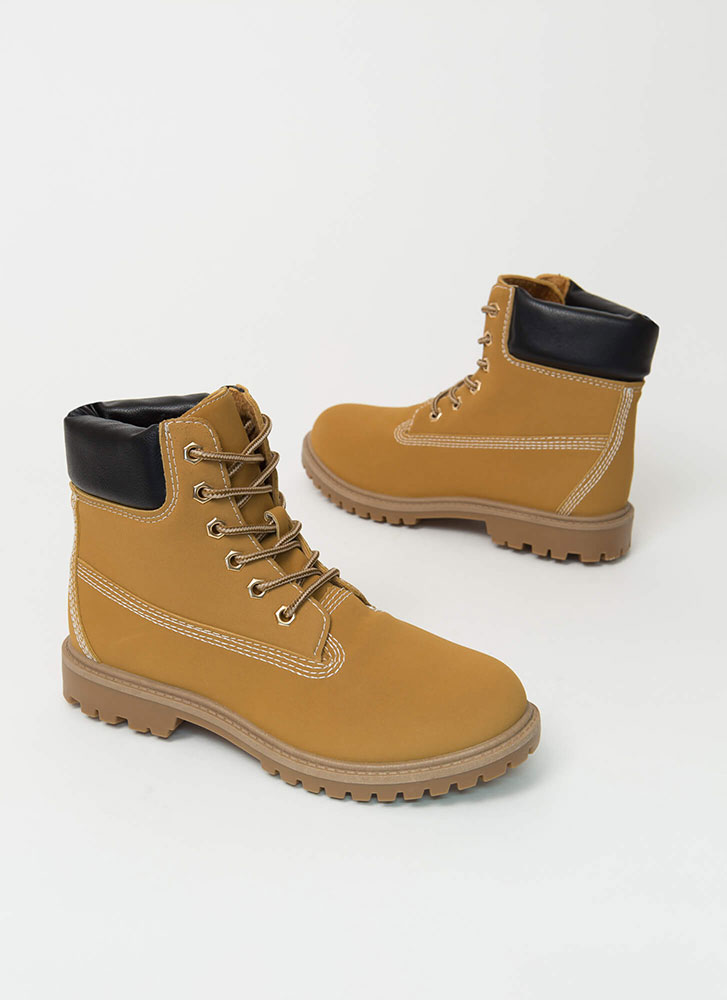 Work Ready Faux Nubuck Combat Boots HONEYWHEAT (You Saved $18)