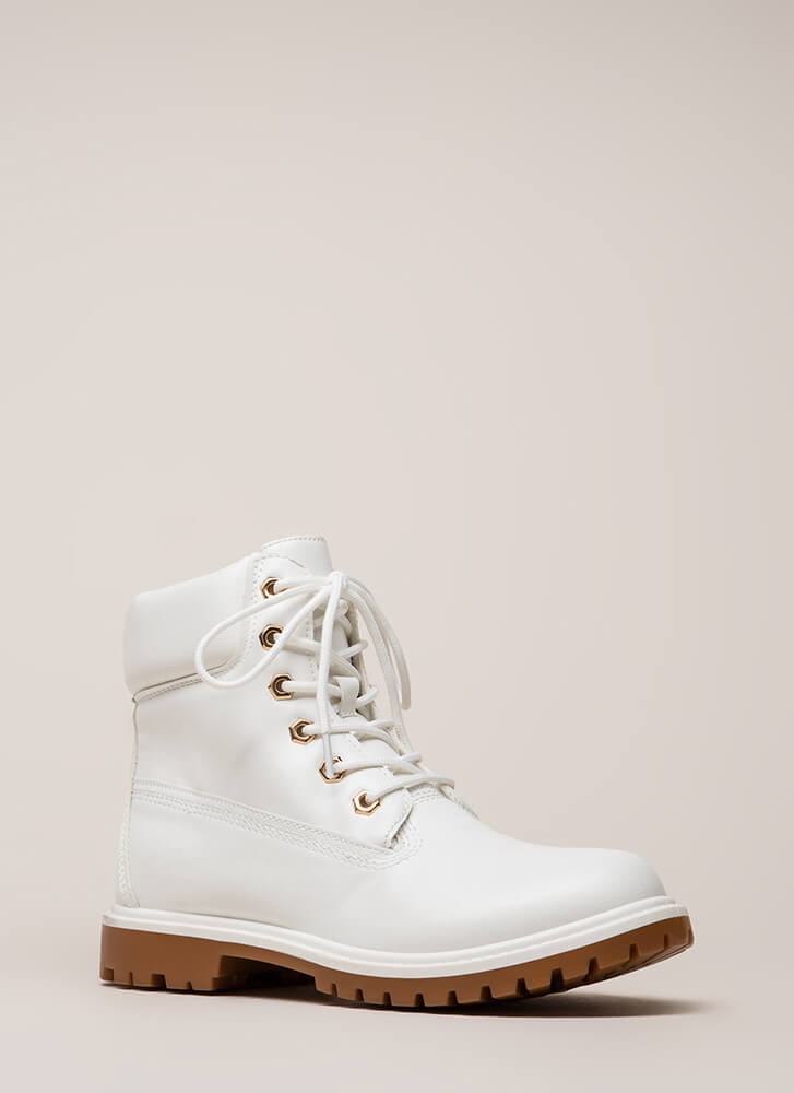 Work Ready Faux Leather Combat Boots WHITE