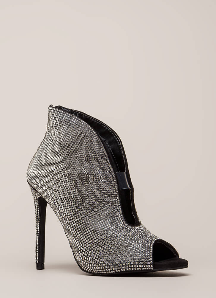 Sparkly Statement Jeweled Peep-Toe Heels BLACK (You Saved $32)