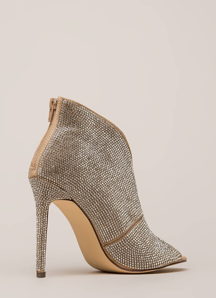 Sparkly Statement Jeweled Peep-Toe Heels NUDE (You Saved $32)