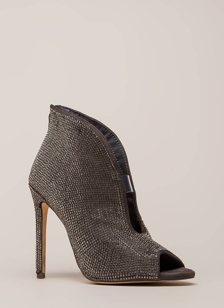 Sparkly Statement Jeweled Peep-Toe Heels PEWTER (You Saved $32)