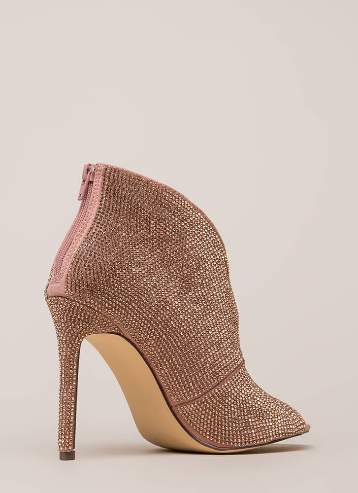 Sparkly Statement Jeweled Peep-Toe Heels ROSEGOLD