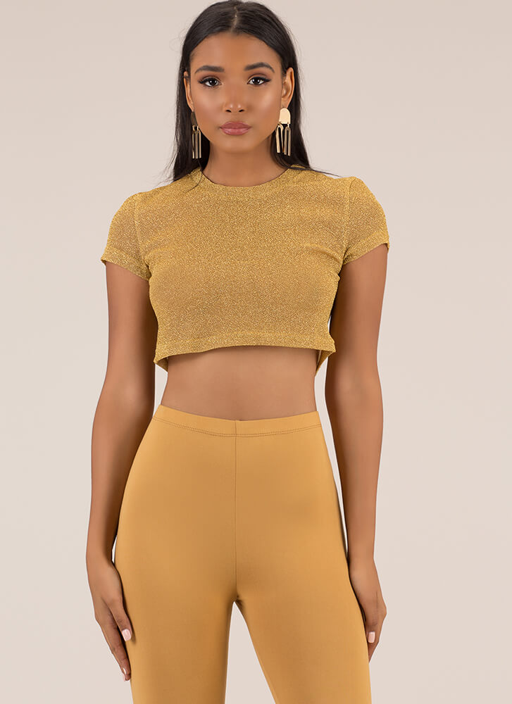 All That Glitters Mesh Crop Top GOLD