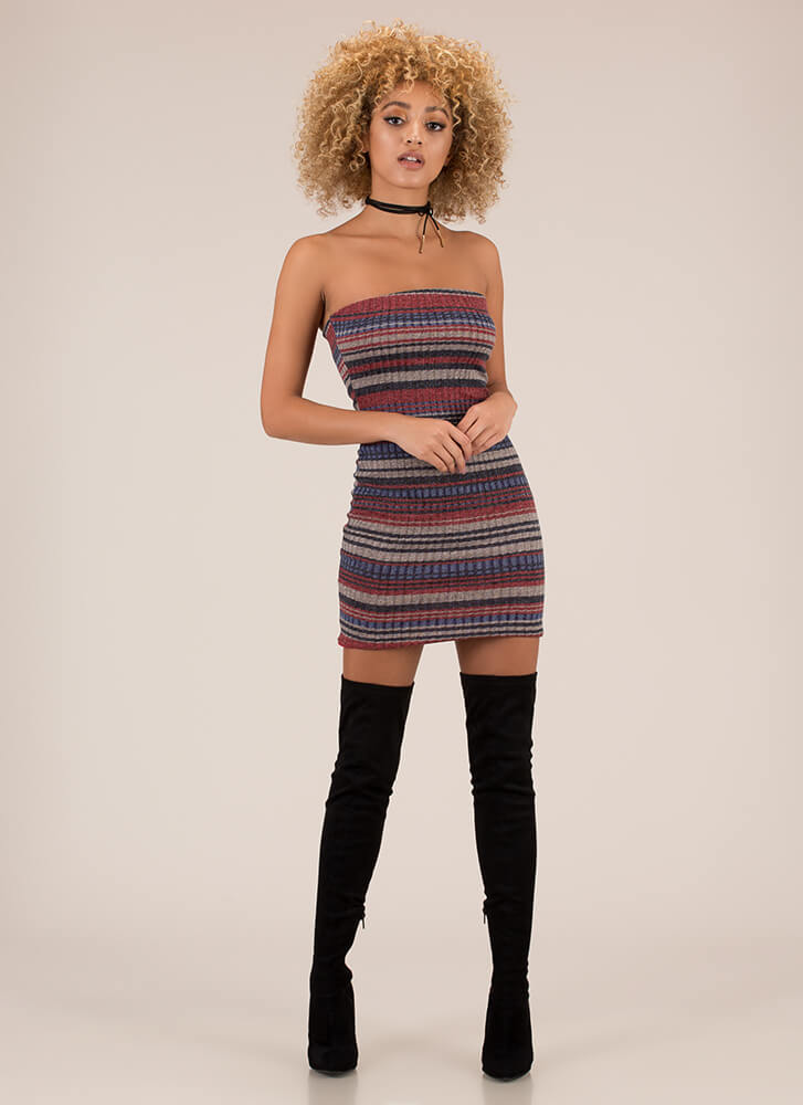 Striped And Strapless Rib Knit Minidress BERRY