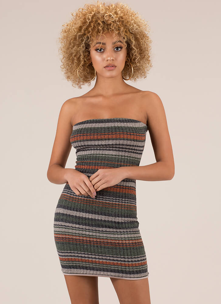 Striped And Strapless Rib Knit Minidress COCO