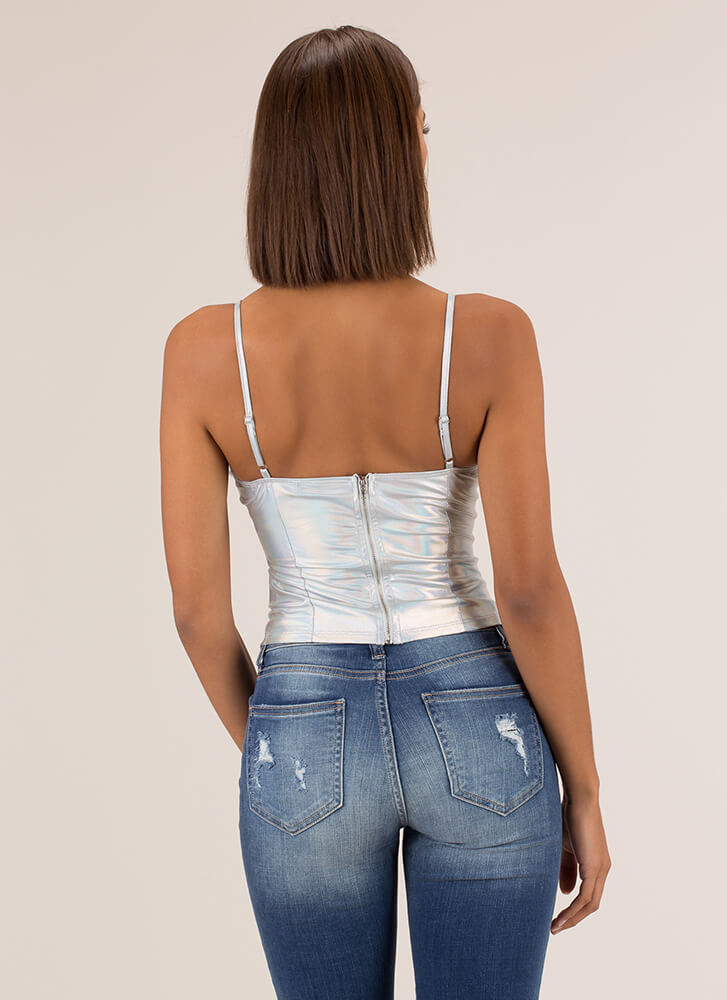 Change Of Sheen Bustier Tank Top SILVER