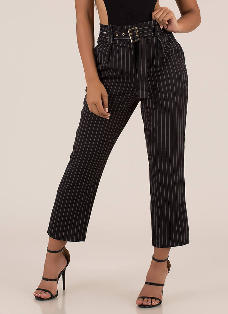 The Business Belted Pinstriped Trousers BLACK (Final Sale)