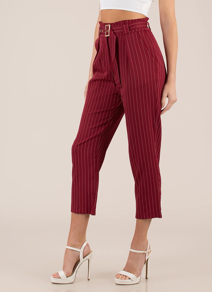 The Business Belted Pinstriped Trousers BURGUNDY