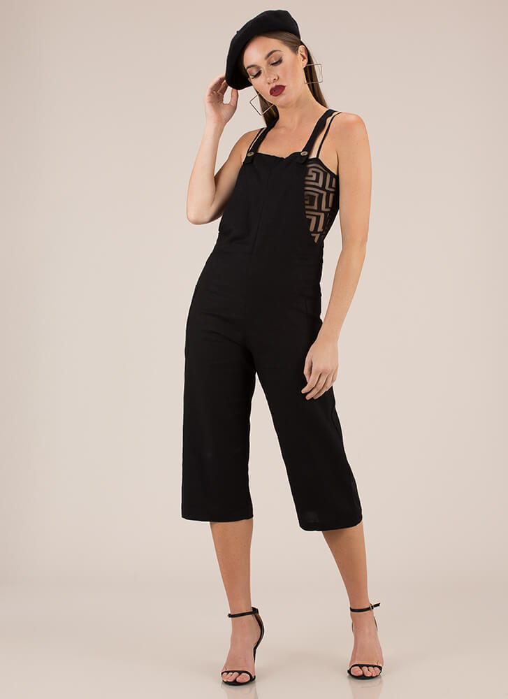 Total Upgrade Cropped Linen Overalls BLACK