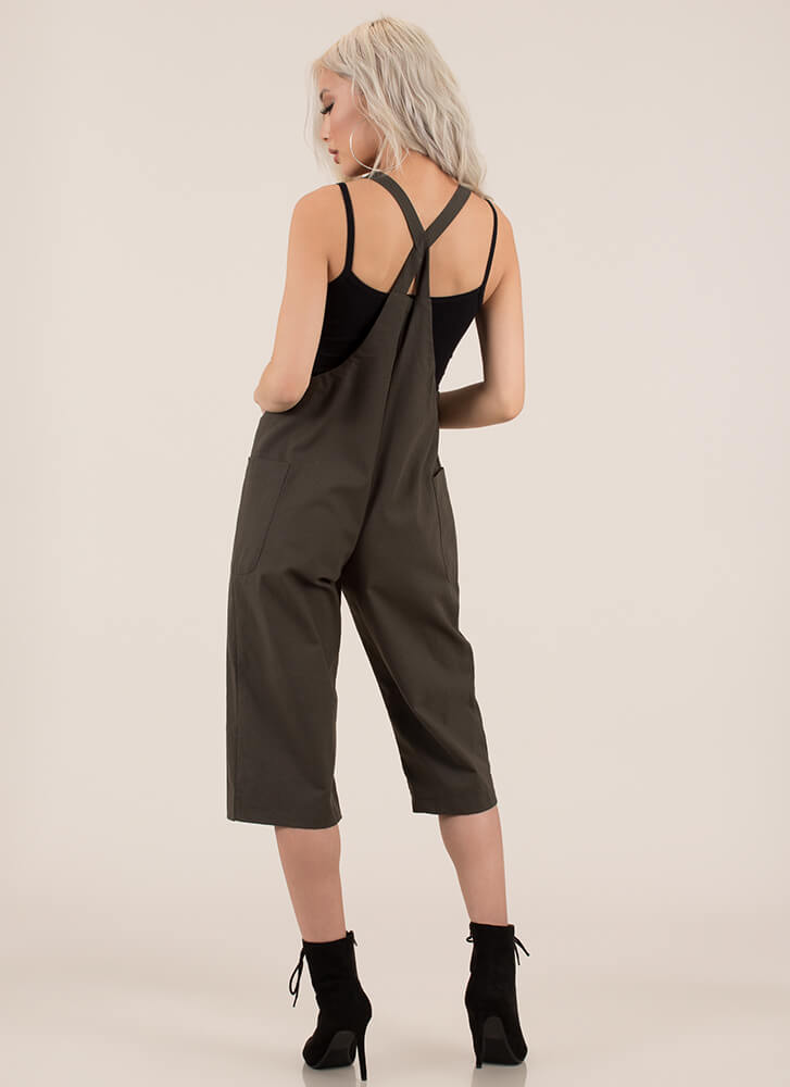 Total Upgrade Cropped Linen Overalls OLIVE
