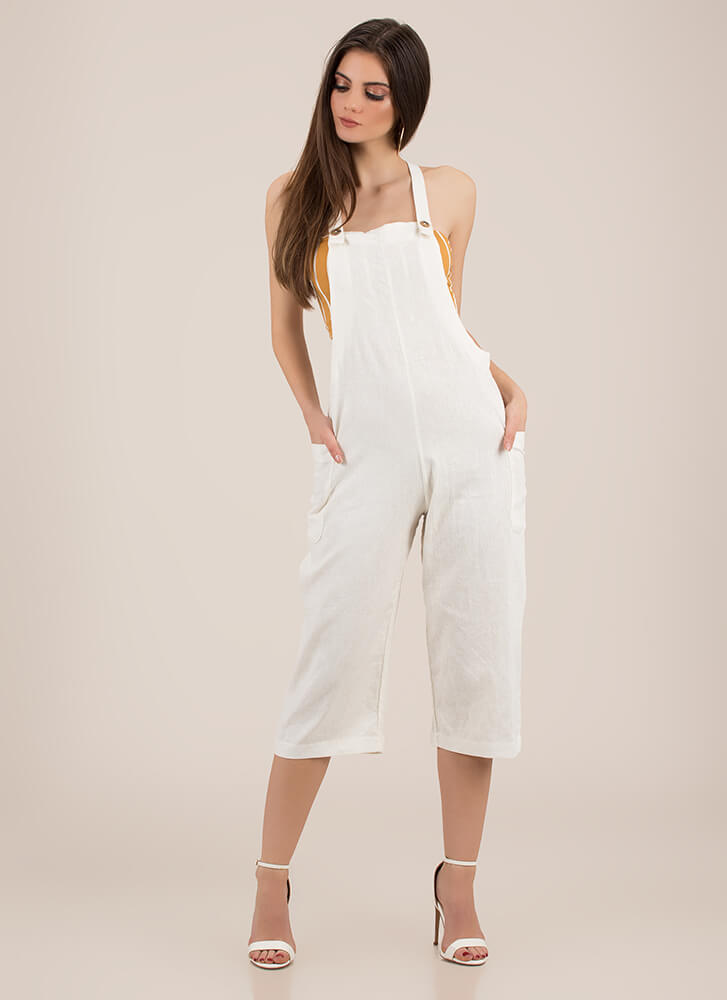 Total Upgrade Cropped Linen Overalls WHITE