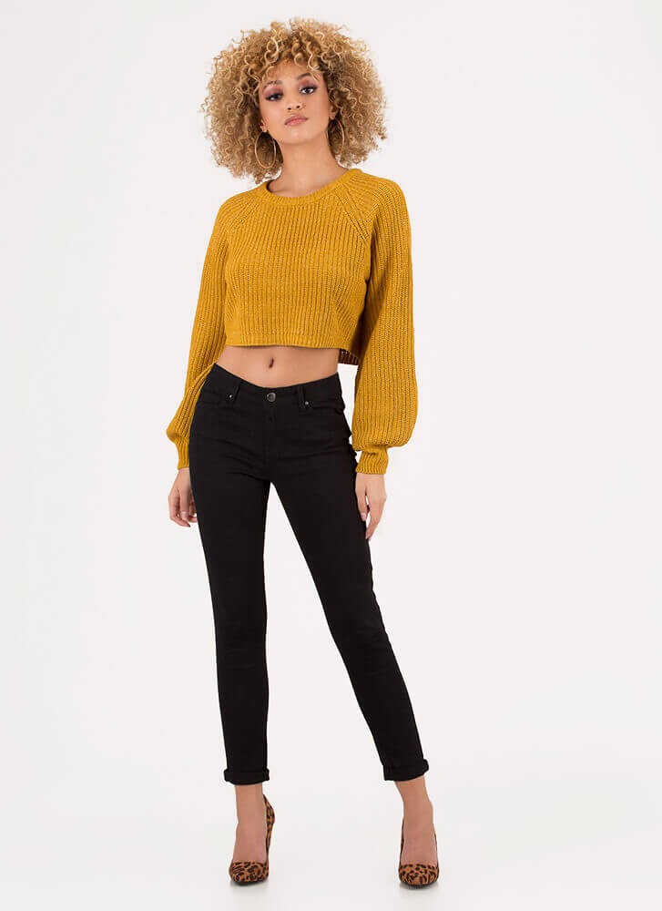 Warm Wishes Cropped Knit Sweater MUSTARD