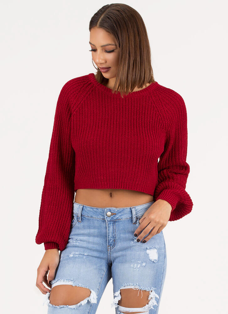 Warm Wishes Cropped Knit Sweater RED