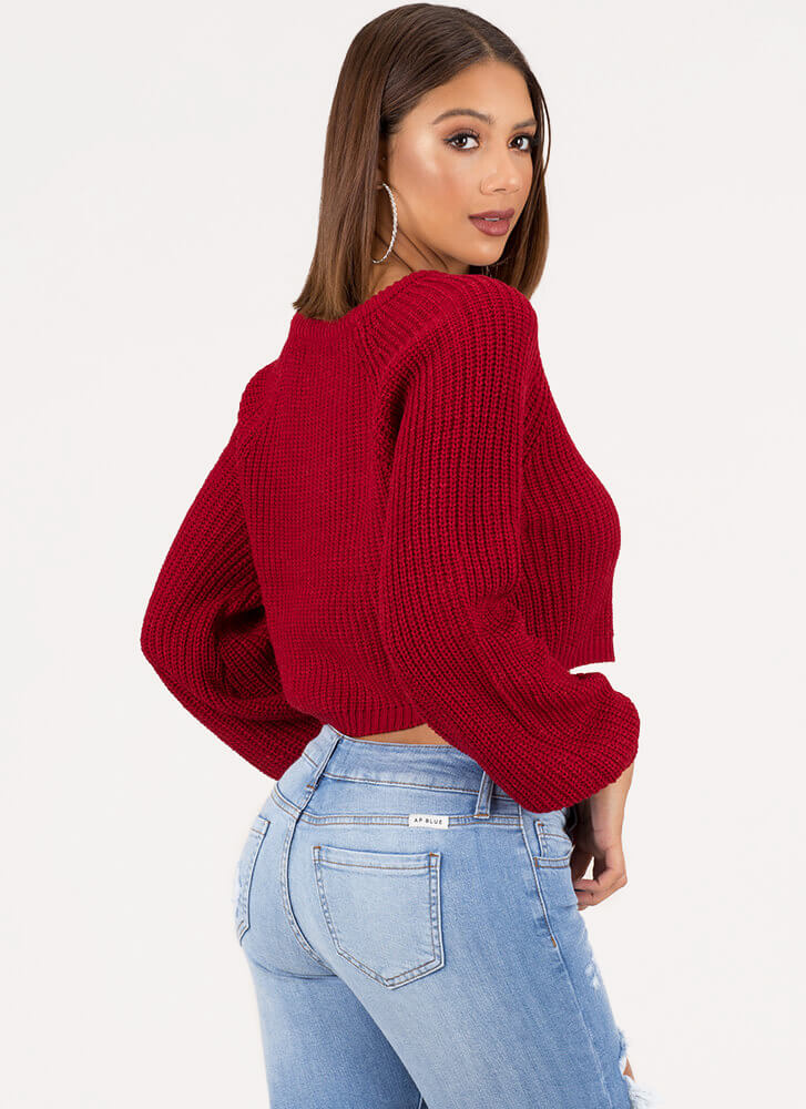 Warm Wishes Cropped Knit Sweater RED (You Saved $18)