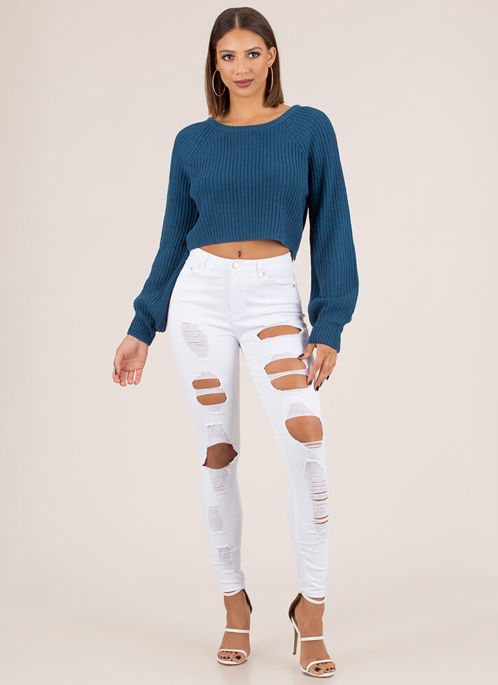 Warm Wishes Cropped Knit Sweater TEAL