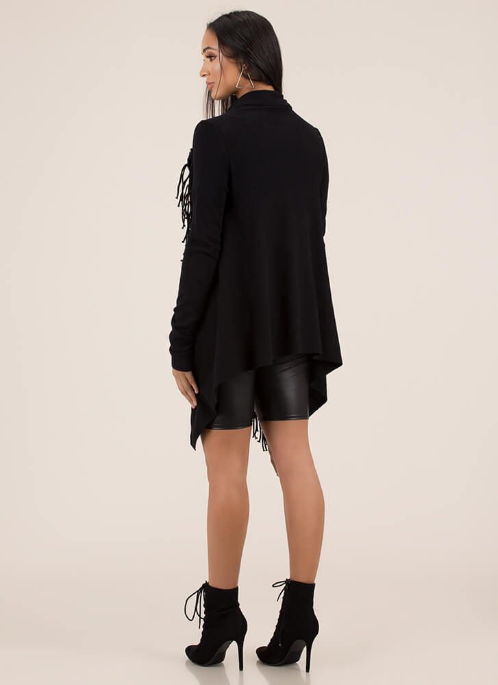 All Wrapped Up Fringed Poncho Sweater BLACK