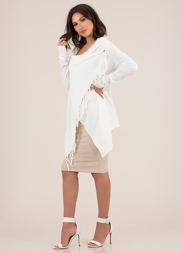 All Wrapped Up Fringed Poncho Sweater OFFWHITE