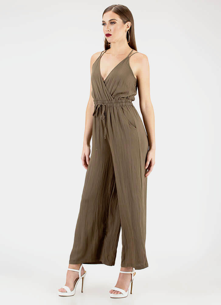 Far And Wide Strappy Palazzo Jumpsuit OLIVE
