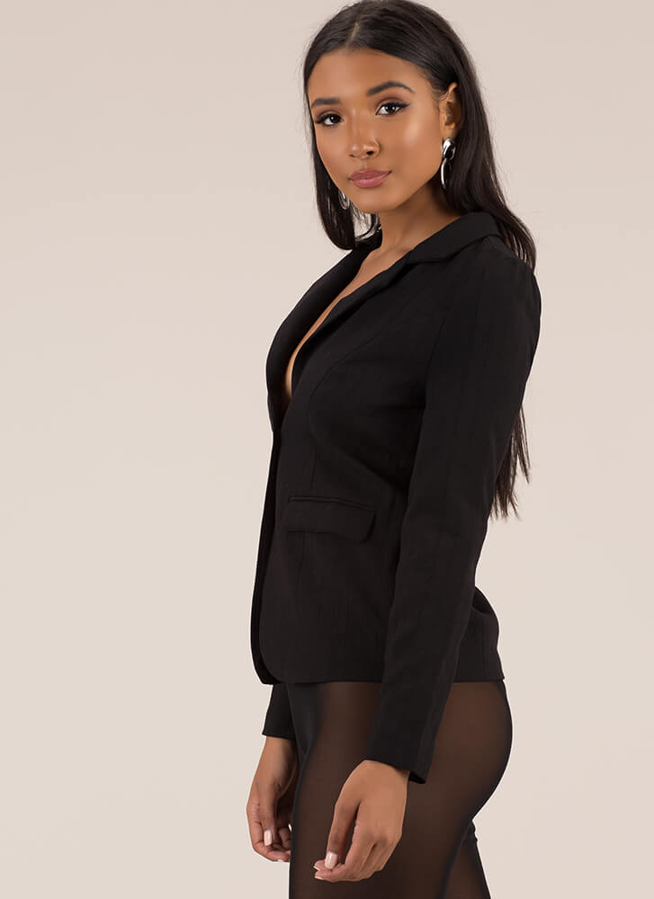 It's Business As Usual Suit Blazer BLACK