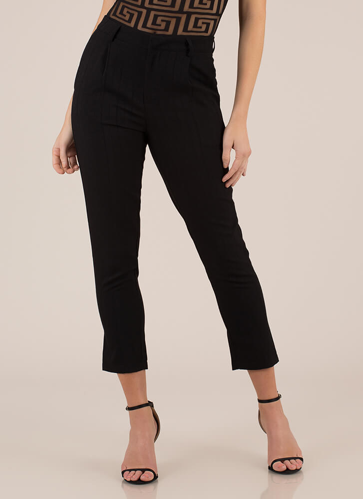 Wear The Pants Skinny Cropped Trousers BLACK