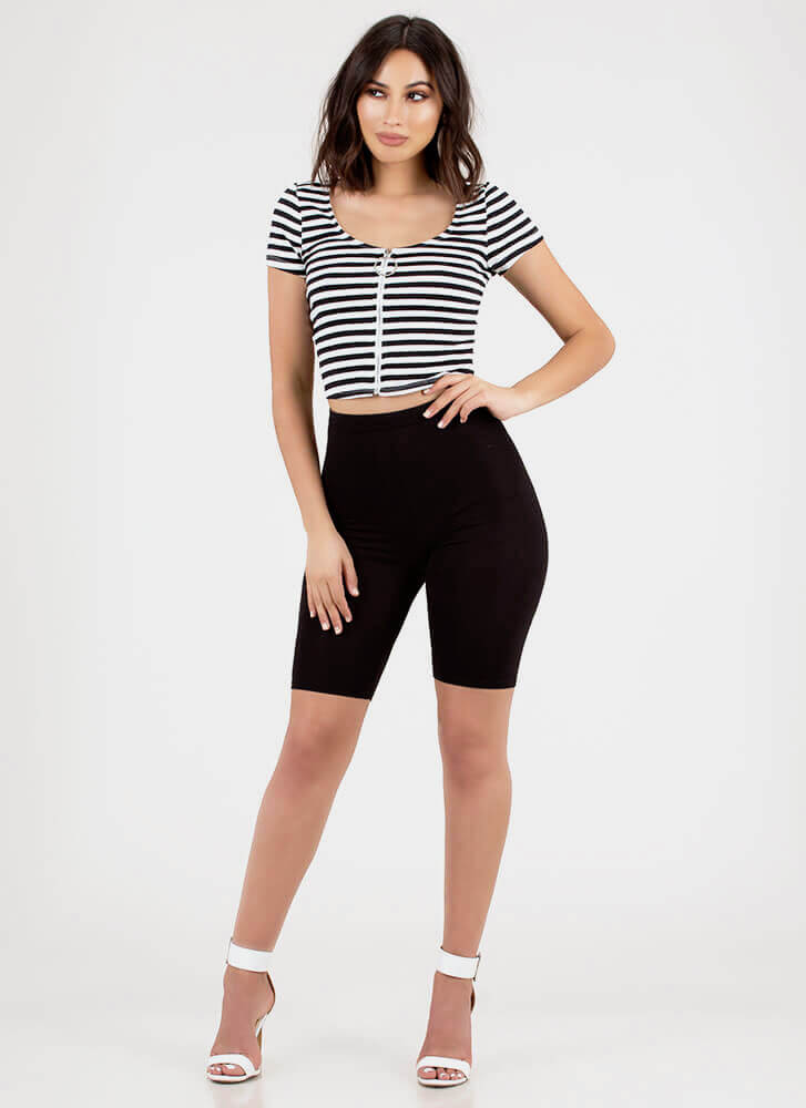 Good Day Striped Zip-Front Crop Top BLACKWHITE