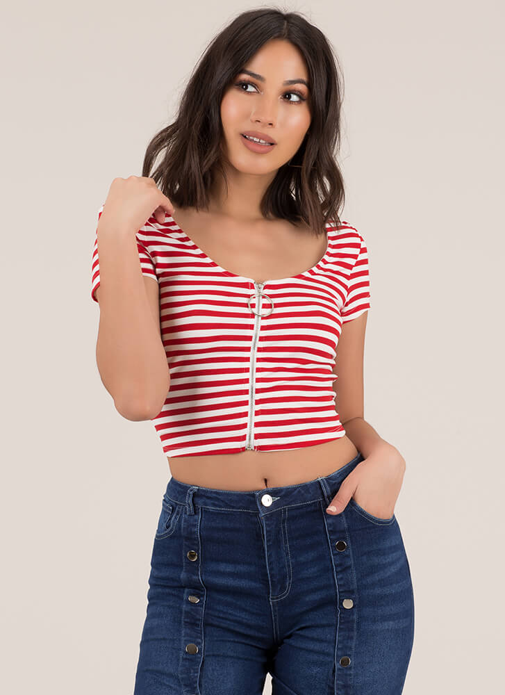 Good Day Striped Zip-Front Crop Top REDWHITE
