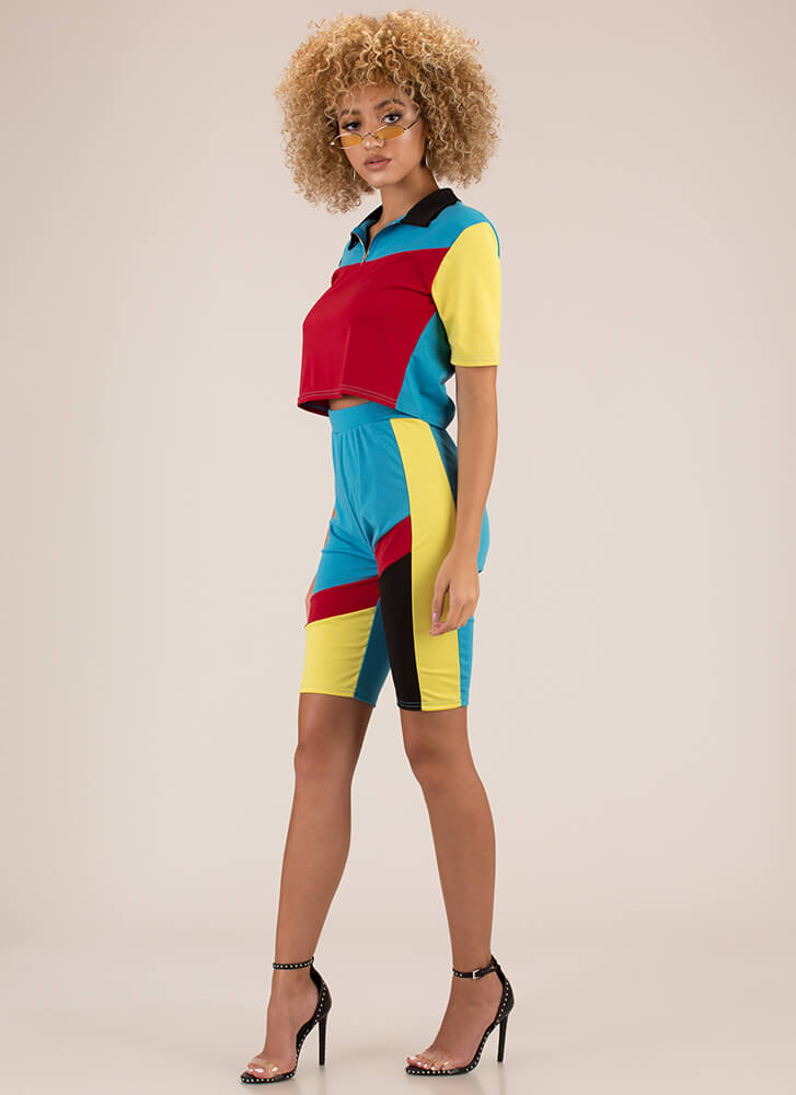 Colorblock Party Top And Shorts Set RED