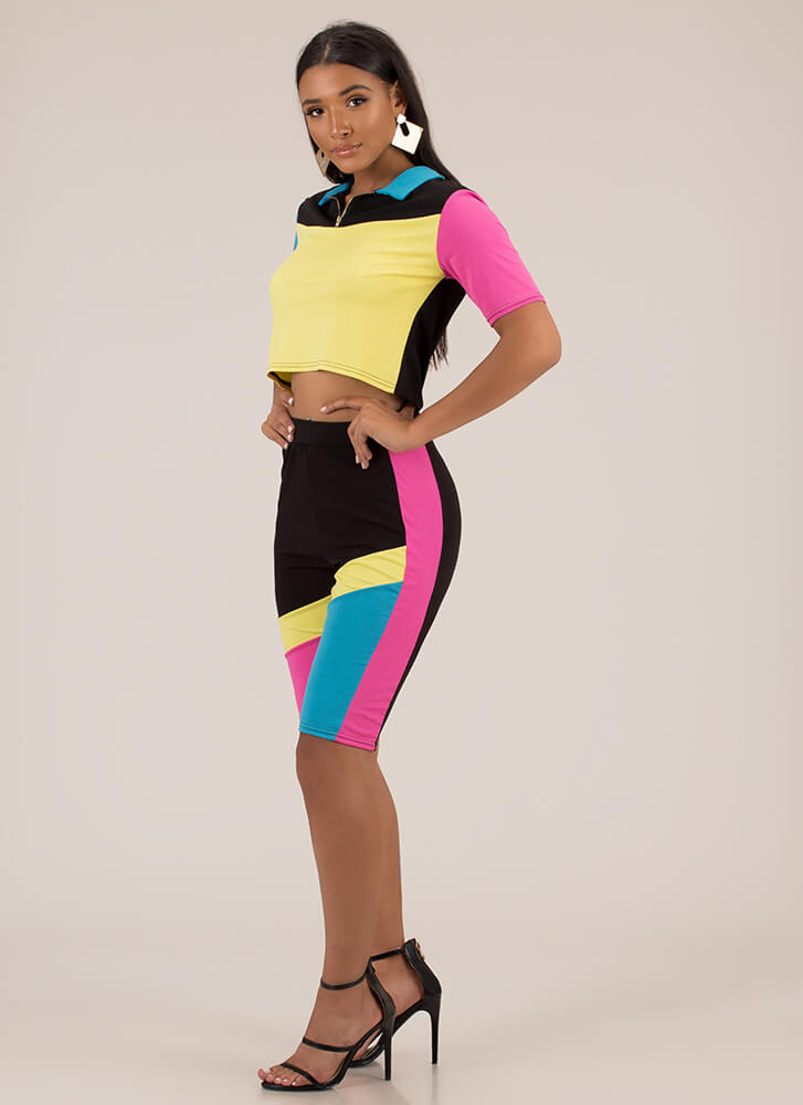 Colorblock Party Top And Shorts Set YELLOW