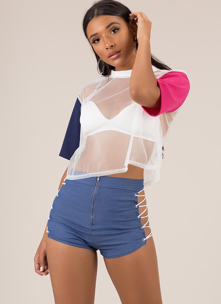 Oh Hi There Cut-Out Lace-Up Shorts BLUE