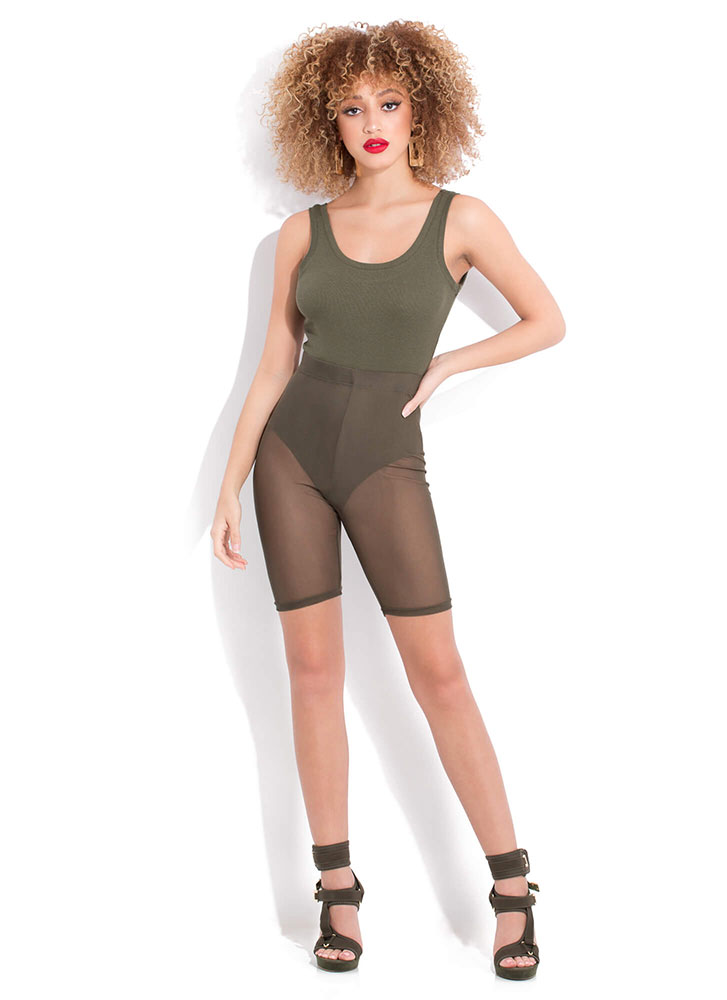 This Is Me Sheer Mesh Biker Shorts OLIVE