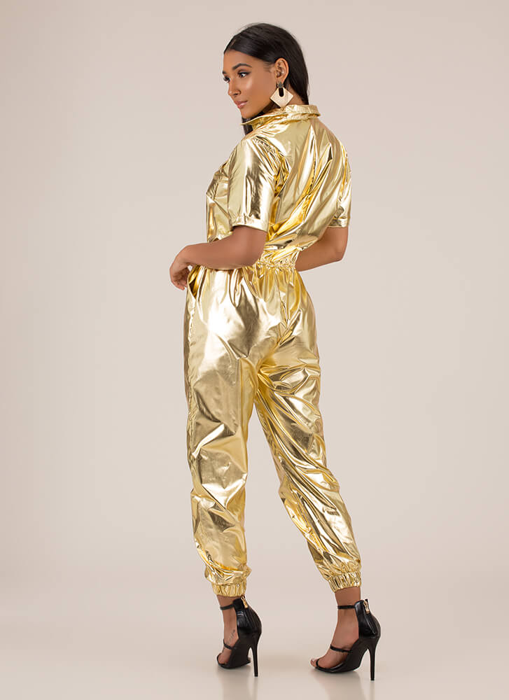 Foiled My Plan Metallic Jogger Jumpsuit GOLD
