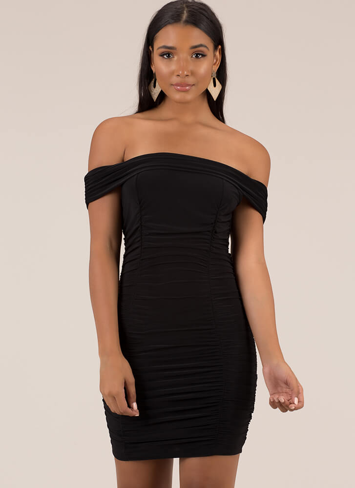 Ruched And Ready Off-Shoulder Minidress BLACK