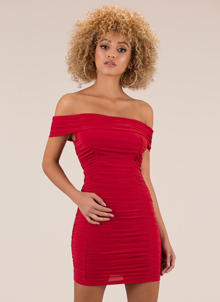 Ruched And Ready Off-Shoulder Minidress RED