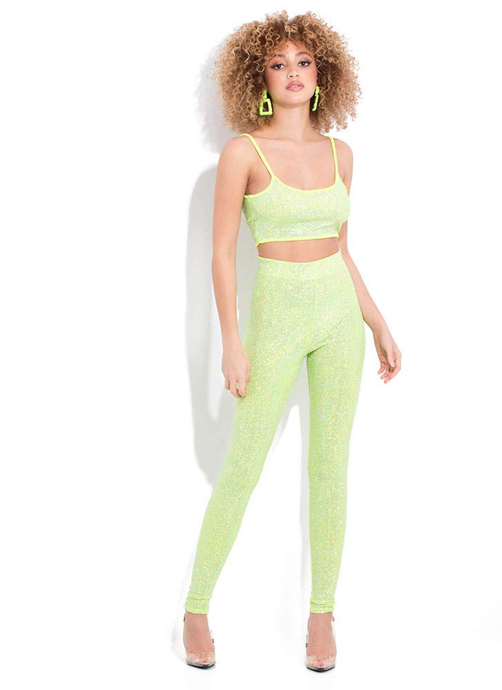 Glimmer Of Dope Sequined 2-Piece Set LIME