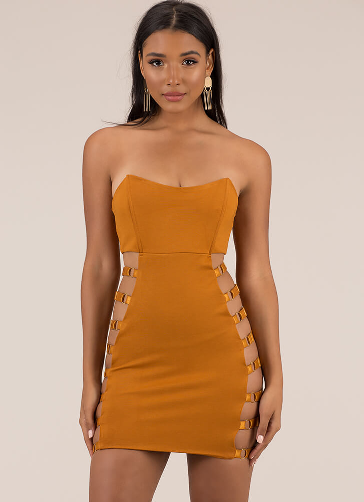 Get The Straps Strapless Cut-Out Dress MUSTARD