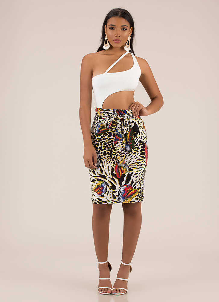 Into The Wild Tropical Leopard Skirt MULTI