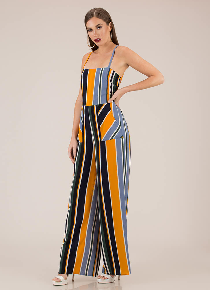 Stripe Right Lace-Up Palazzo Jumpsuit MUSTARD