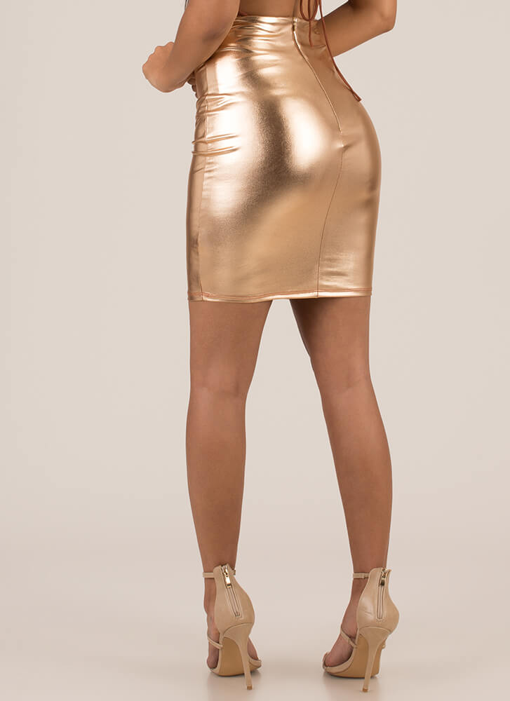 Shine Metallic Faux Leather Miniskirt ROSEGOLD