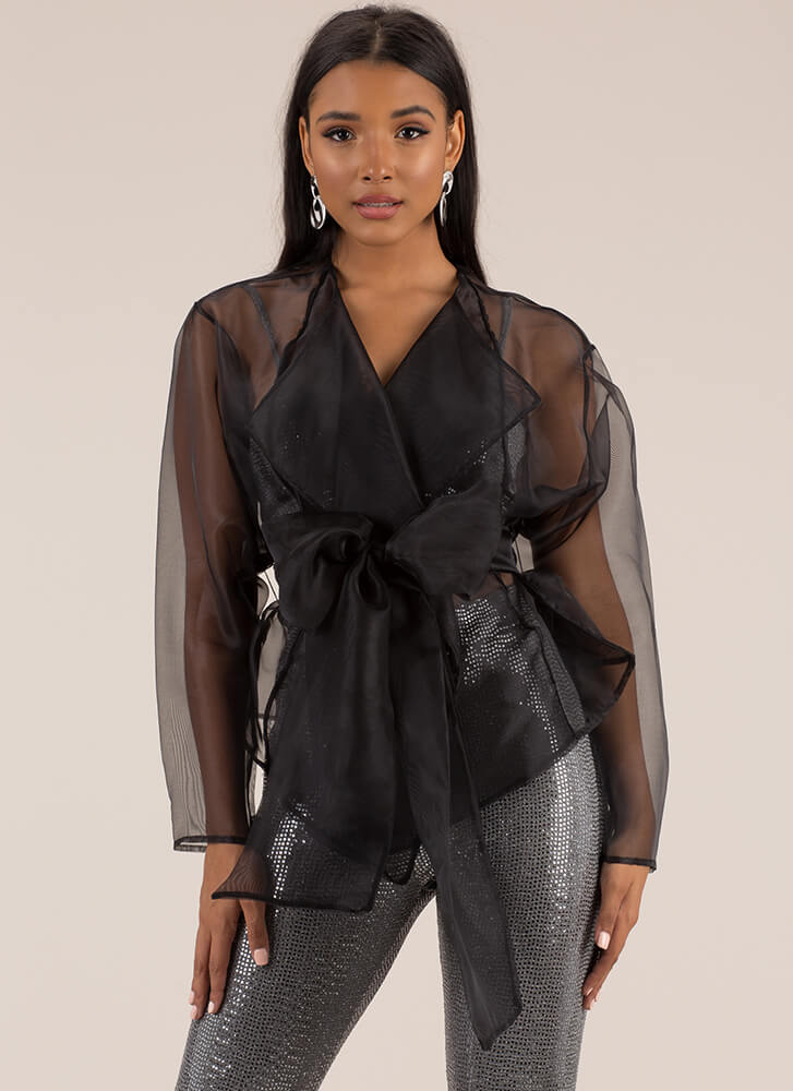 Fancy This Belted Organza Jacket BLACK
